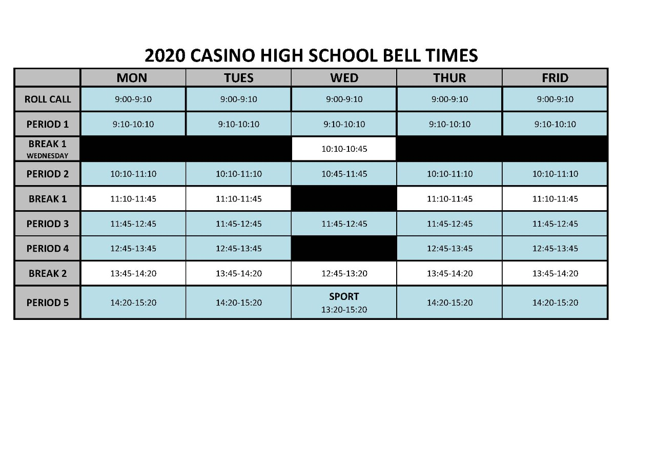 Image of the school bell times for each day of the week