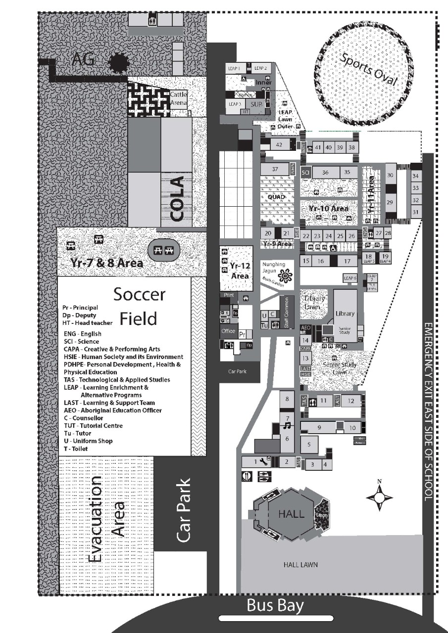 image of a map of the school in black and white colour